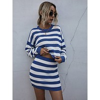 Striped Drop Shoulder Sweater With Knit Skirt