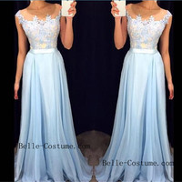 Lace Prom Dresses, Blue Prom Dresses 2016, Long Prom Dresses, Lace Evening Dresses
