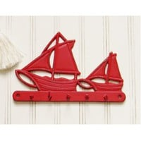 Sailboat Wall Key Hook - Choose Your Color - Colorful Cast and Crew