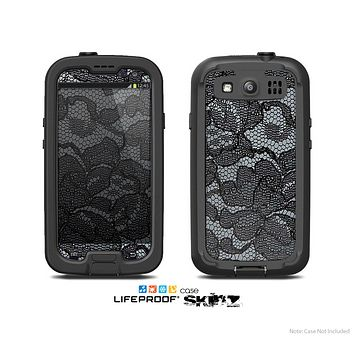 The Black Lace texture Skin For The Samsung Galaxy S3 LifeProof Case