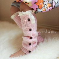 The Mini Molly - 5 colors GIRLS Soft Slouchy Button Down pink leg warmers w/ Ivory Knit Lace Trim - girls legwarmers baby legs