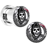 0 Gauge Surgical Steel Sons of Anarchy Gunsickle Grim Reaper Screw Fit Plug Set
