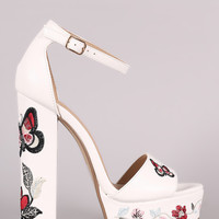 Delicious Butterfly And Flower Chunky Platform Heel