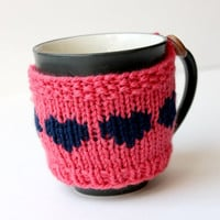 Knit Mug Sleeve, Mothers Day Gift, Pink Mug Cozy, Coffee Cup Cozy, Knitted Cup Sleeve, Coral Pink, Gift for Mom, Gift for Her