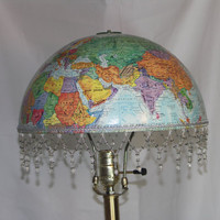 Vintage World Globe Lampshade, Blue with Colorful Land-masses. For Living Room, Library, Child's Room, Student's Room,or Travel Theme