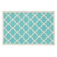 The Land of Nod: Kids' Rugs: Kids Aqua Woven Cotton Rug in Cotton Rugs
