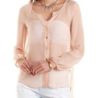 Sheer High-Low Button-Up Top by Charlotte Russe