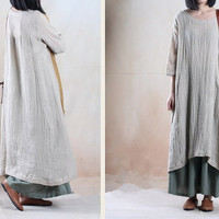 women maxi dress linen dress plus size dress loose dress