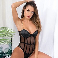 BKLD Spaghetti Strap Club Party Clothes 2019 Summer Women Sexy Transparent Body Suit Fashion Metal Chain Black Mesh Lady Outfits