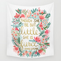 Little & Fierce Wall Tapestry by Cat Coquillette