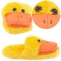 Fuzzy Yellow Duck Animal Slippers for Women L 9-10