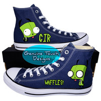 Custom Converse, Invader Zim, Gir shoes, Wraith, Waffles!, Custom Chucks, painted shoes, personalized converse hi tops