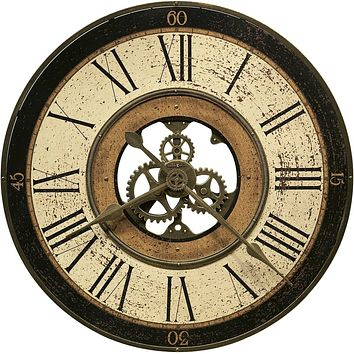 """32""""H Brass Works Wall Clock Antique Brass with Worn Dial"""