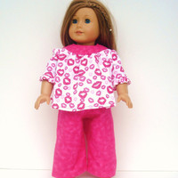 American Girl Doll Clothes Pink Flannel Pajamas, Fits18 inch dolls