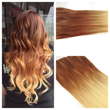 """Ombre Hair Extension READY to SHIP Golden Brown Ombre Hair - Ombre Clip In Hair Extension - 22"""" light Ash Brown to Blonde Clip in Hair"""