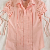 """~~~ SPRING-READY! ~~~ DSQUARED2 PINK COTTON """"PINTUCKED"""" SLEEVE TIE SHIRT ~ 38"""