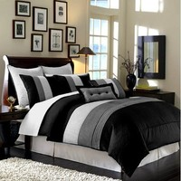 "8 Pieces Black White Grey Luxury Stripe Comforter (86""x88"") Bed-in-a-bag Set Full or Double Size Bedding"