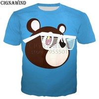 Fashion funny Cartoon Kanye West Graduation Bear t shirt men/women 3D print t-shirts Harajuku style tshirt streetwear summer top