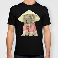 Shar Pei on the Great Wall T-shirt by Barruf