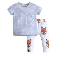 New 2017 summer baby boy girl clothes cartoon fox gray Short Sleeve T-shirt+pants 2pcs/suit Outfits Infant clothing set