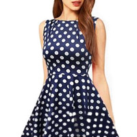 Navy Sleeveless Polka Dot Sheath Mini Skater Dress