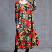 Cotton and linen Loose fitting Maxi Dress Women Cotton and linen Irregular Robe in red/ blue