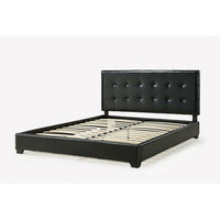 California King Size Dark Brown Faux Leather Upholstered Platform Bed with Headboard