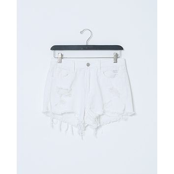 Spent Time White Denim Shorts - White Distressed