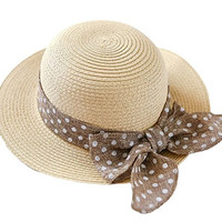Reutry Baby Girls Summer Straw Hat Bowknot Beach Sun Protection Hats 6-12M