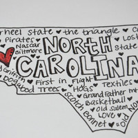 State Typographic Map Word Art (North Carolina or Any state)
