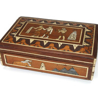 Egyptian Wood Inlay Trinket Box - Wooden Egypt Images Theme Souvenir Box with Brass Hinged Lid - Sphinx Pyramids Egyptian Figures