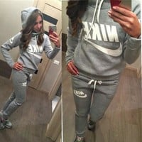 casual print hoodie pants trousers set two piece