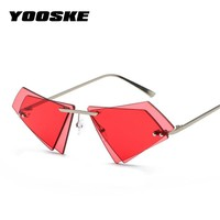 YOOSKE Rimless Cat Eye Sunglasses Women Small Triangle Sun Glasses Female Famous Brand Irregular Double Lens Eyeglasses