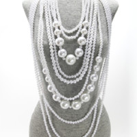 "18"" white faux pearl layered bib necklace earrings chunky"