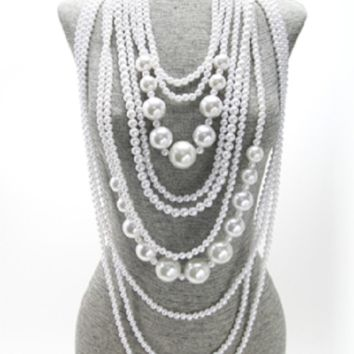 """18"""" white faux pearl layered bib necklace earrings chunky"""