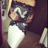 White And Black Lace Knee Length Custom Cocktail Dresses With Long Sleeves Boat Neck Short Party Dress Gowns 2016 New Fashion