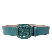 Gucci Men's Teal Imprime Interlocking G Buckle Belt 223891 4715