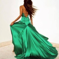Green V Neck Long Prom Dress