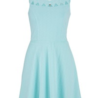 Open Front Dress With Textured Fabric - Cool Aqua