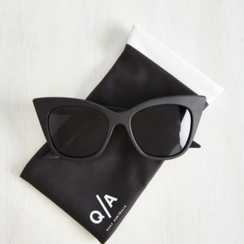 Film Noir Modern Love Sunglasses in Noir by Quay from ModCloth