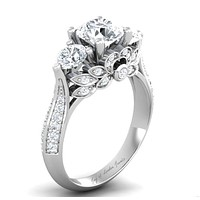 A Museum Perfect 2CT Princess Cut Russian Lab Diamond Floral Engagement Ring