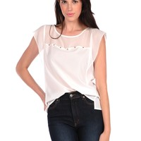 Romeo & Juliet Couture Sheer Studded Top