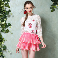 Floral Lace Accent Half Sleeve Top with Ruffled Layer Mini Skirt Set