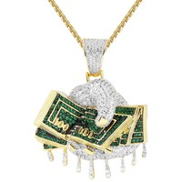 Men's Hands Holding Dollar Bills Grind Dripping Iced Out Pendant