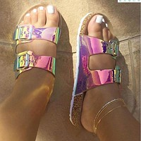 New Summer Women's Shoes Colored Open Toe Double Buckle Large Size Flat Sandals