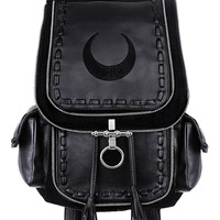 Restyle Gothic Witch Crescent Moon Embroidered Black Denim Backpack