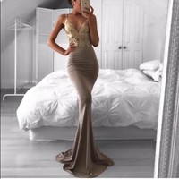 Spaghetti Straps Prom Dress Evening Dresses Grey Long Dresses