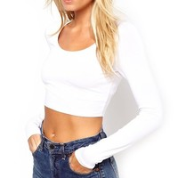 Vivian's Fashions Top - Crop Top, Long Sleeve (White, X-Small)