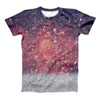 The Red and Blue Glowing Orbs with Silver Sparkle ink-Fuzed Unisex All Over Full-Printed Fitted Tee Shirt