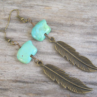Feather Zuni Bear Earrings, Turquoise Magnesite Earrings, Native American Jewelry, Southwestern Earrings, Bear Earrings, Blue & Bronze